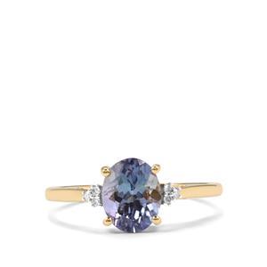 Bi Colour Tanzanite & Diamond 10K Gold Ring ATGW 1.57cts