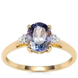 Bi Colour Tanzanite Ring with Diamond in 9K Gold 1.57cts