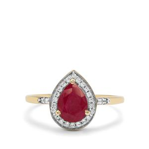 Burmese Ruby & White Zircon 9K Gold Ring ATGW 1.65cts