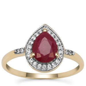 Burmese Ruby Ring with White Zircon in 9K Gold 1.65cts