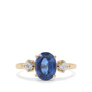 Daha Kyanite Ring with White Zircon in 10K Gold 2.55cts