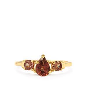 Bekily Color Change Garnet Ring  in 10k Gold 1.24cts