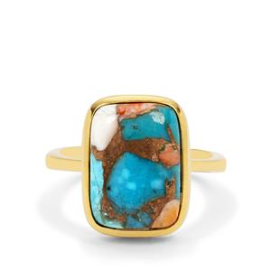 Oyster Copper Mojave Turquoise Ring in Gold Plated Sterling Silver 6.90cts