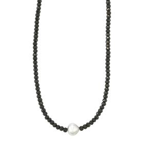 South Sea Cultured Pearl & Black Spinel Sterling Silver Graduated Bead Necklace