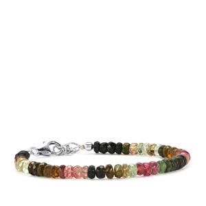 27ct Rainbow Tourmaline Sterling Silver Bead Bracelet
