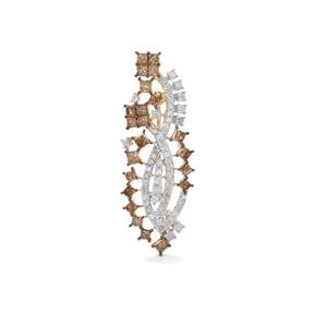 1.70ct Champagne & White Diamond 10K Gold Tomas Rae Brooch