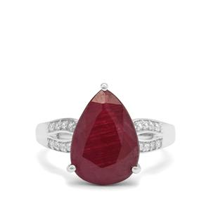 Bharat Ruby Ring with White Zircon in Sterling Silver 6.55cts