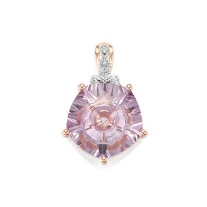 Lehrer QuasarCut Rose De France Amethyst Pendant with Diamond in 10K Rose Gold 5.09cts