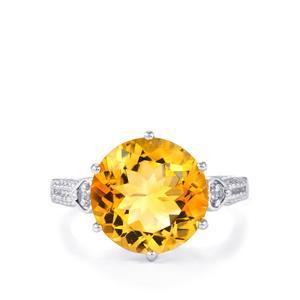 Diamantina Citrine & White Topaz Sterling Silver Ring ATGW 6.38cts