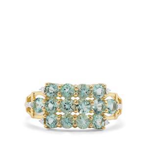 Aquaiba™ Beryl & Diamond 9K Gold Ring ATGW 1.31cts
