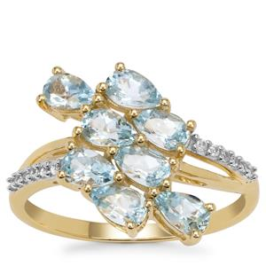 Santa Maria Aquamarine Ring with White Zircon in 9K Gold 1.50cts