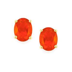 2.41ct AA Orange American Fire Opal 10K Gold Earrings