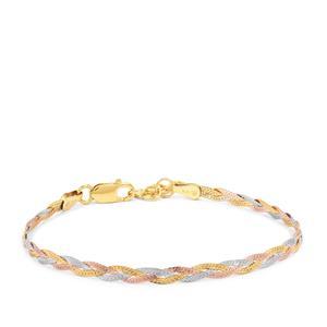 "7"" Three Tone Gold Plated Sterling Silver Altro Diamond Cut Braided Herringbone Bracelet 2.13g"