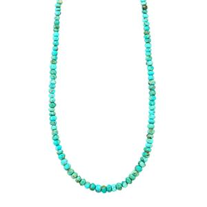 Turquoise Graduated Bead Necklace in Sterling Silver 41cts