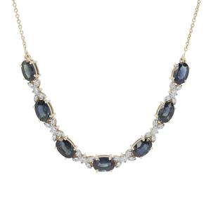 Australian Blue Sapphire & White Zircon 9K Gold Tomas Rae Necklace ATGW 4.47cts