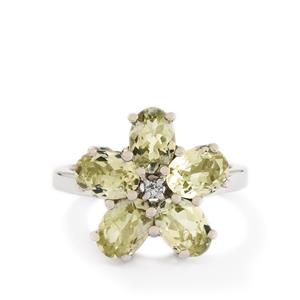 Sillimanite & White Topaz Sterling Silver Ring ATGW 3.78cts