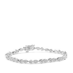 Diamond Bracelet in Sterling Silver 1cts