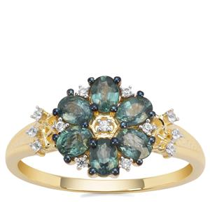 Natural Nigerian Blue Sapphire Ring with White Zircon in 9K Gold 1.13cts