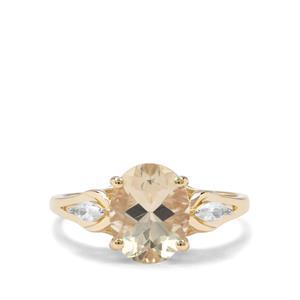 Cuprian Sunstone & White Zircon 9K Gold Ring ATGW 2.59cts