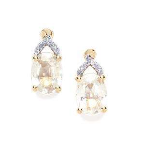 Singida Tanzanian Zircon & Diamond 10K Gold Earrings ATGW 3.89cts