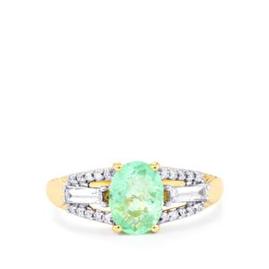 Paraiba Tourmaline Ring with Diamond in 18k Gold 1.44cts
