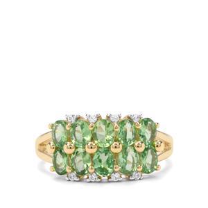 Tsavorite Garnet & White Zircon 9K Gold Ring ATGW 1.88cts