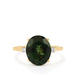 Mandrare Green Apatite & Diamond 18K Gold Tomas Rae Ring MTGW 4.45cts