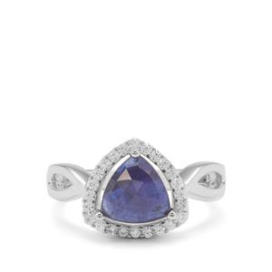 Rose Cut Sapphire Ring with White Zircon in Sterling Silver 2.59cts