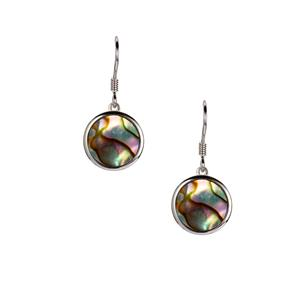 Paua Earrings in Sterling Silver (10mm)