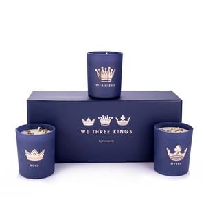 We Three Kings Candle Set, Frankincense and Myrrh Fragrance with Pyrite Gold ATGW 18cts