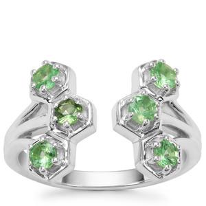 Tsavorite Garnet Ring in Sterling Silver 0.73ct