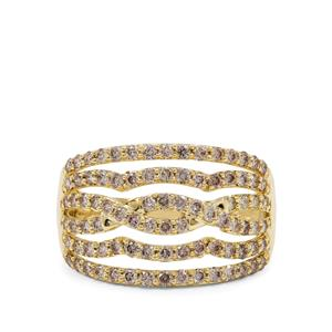 Champagne Argyle Diamond Ring in 9K Gold 1cts