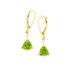 Changbai Peridot Earrings with White Sapphire in 9K Gold 2.62cts