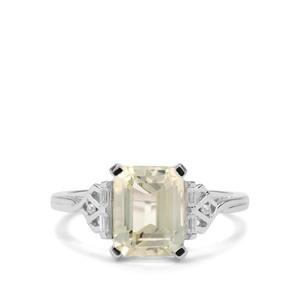 Minas Novas Hiddenite & White Zircon 9K White Gold Ring ATGW 3.29cts