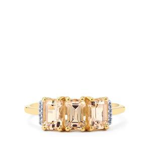 Rose Danburite & Diamond 10K Gold Ring ATGW 1.71cts