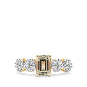 Csarite® & Ceylon White Sapphire 9K Gold Ring ATGW 1.50cts