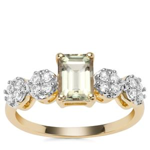 Csarite® Ring with Ceylon White Sapphire in 9K Gold 1.50cts