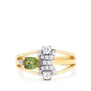 Ambanja Demantoid Garnet Ring with White Zircon in 10k Gold 0.99ct