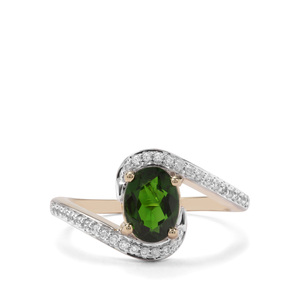 Chrome Diopside & White Zircon 9K Gold Ring ATGW 1.61cts