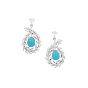 Sleeping Beauty Turquoise Earrings with White Zircon in Sterling Silver 2.31cts