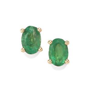 0.75ct Bahia Emerald 10K Gold Earrings