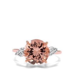 Rose Danburite & White Zircon 10K Rose Gold Ring ATGW 3.91cts