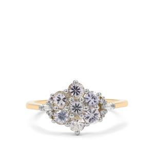 1.29ct Ceylon White & Thai Sapphire 9K Gold Ring