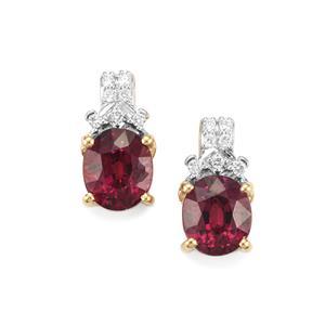 Malawi Garnet Earrings with Diamond in 18K Gold 3.29cts