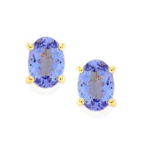 AA Tanzanite Earrings in 9K Gold 1.44cts