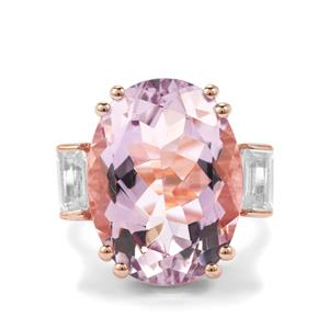 Rose De France Amethyst Ring with White Topaz in Rose Gold Plated Sterling Silver 17.04cts