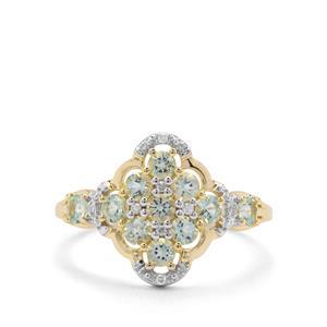 Aquaiba™ Beryl & Diamond 9K Gold Ring ATGW 0.66ct