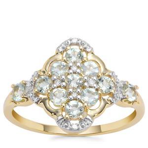 Aquaiba™ Beryl Ring with Diamond in 9K Gold 0.66cts