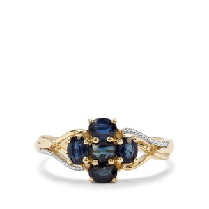 Sant Sapphire & Yellow Diamond 9K Gold Ring ATGW 1.08cts