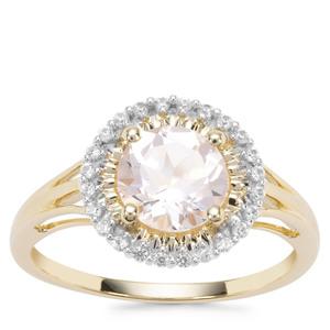 Alto Ligonha Morganite Ring with White Zircon in 9K Gold 1.37cts
